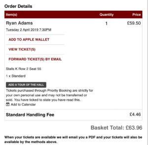Ryan Adams RAH ticket spare