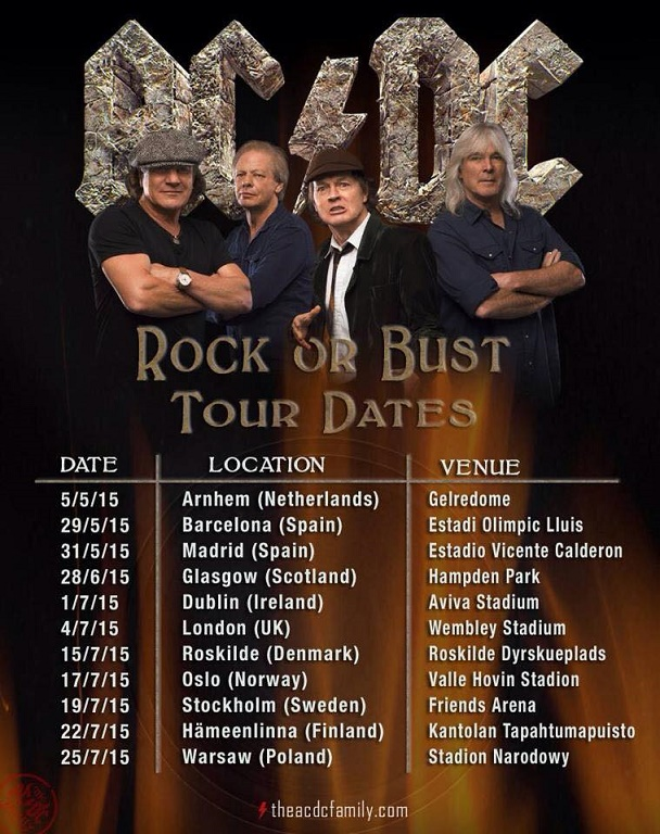 AC/DC North American Tour dates: